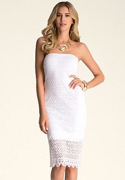 bebe Strapless Susie Midi Dress
