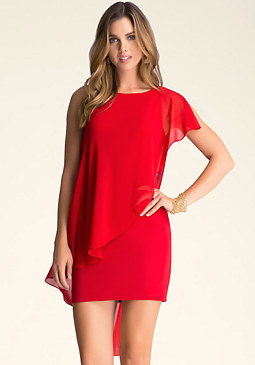 bebe Asymmetric Drape Dress