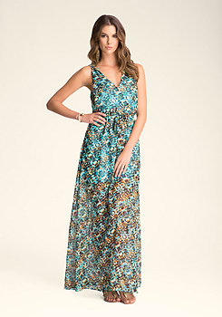 Print Maxi Dress With Hood at bebe