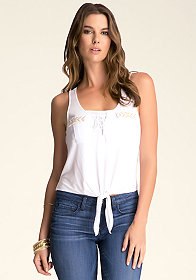 bebe Embellished Pocket Tie Tank