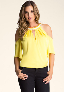 bebe Halter Neck Surplice Top