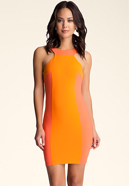 Colorblock Halter Dress at bebe