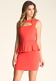 bebe Peek-A-Boo Peplum Dress