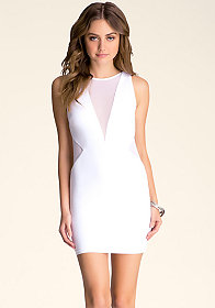 MESH INSET KNIT DRESS at bebe