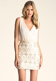 bebe Embellished Contrast Dress