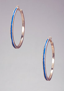 ENAMEL JAGGED-EDGED HOOPS at bebe