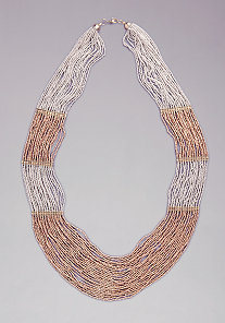 Two-Tone Seed Bead Necklace at bebe