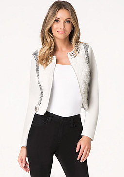 bebe Mixed Media Moto Jacket