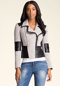 bebe Anaya Tweed Contrast Jacket