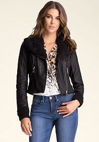Bonded Faux Leather Jacket at bebe