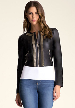 Multi-Zip Leather Jacket at bebe