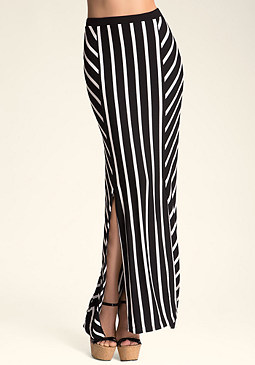 bebe Mixed Stripe Maxi Skirt