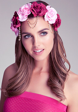 bebe Draped Chain Flower Crown