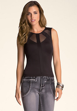 bebe Colorblock Cutout Top