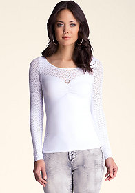 bebe Diamond Lace Detail Top