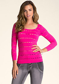 Peek-A-Boo Scoop Neck Top at bebe