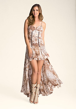 bebe Lace Up Printed Gown