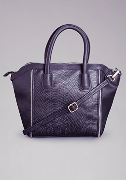 bebe Textured Double Zipper Tote