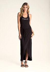 bebe Wrap Tie Front Maxi Dress