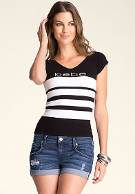 bebe Colorblock V Neck Top