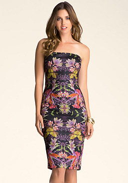 bebe Strapless Bonded Midi Dress