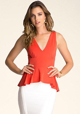 V-Neck Halter Peplum Top at bebe