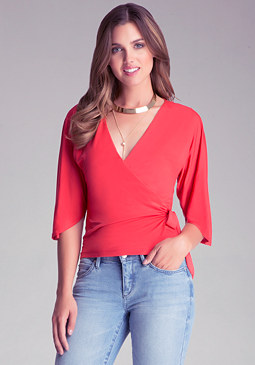 bebe Voluminous Drape Crop Top