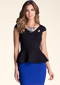 bebe Peplum Cutout Top