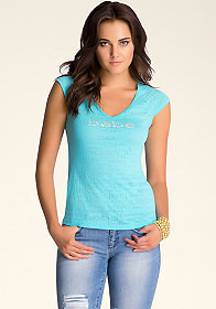 bebe bebe Burnout Edge Tee