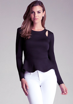 bebe Cutout Shoulder Peplum Top