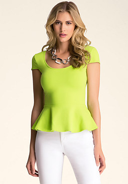 Cap Sleeve Peplum Top at bebe