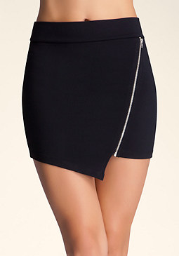 Asymmetric Zip Mini at bebe