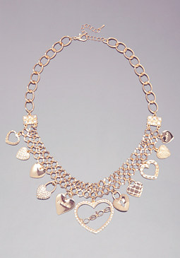 bebe Logo Multi Charm Necklace
