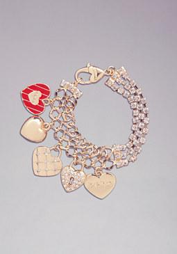 bebe Logo Charm Heart Bracelet