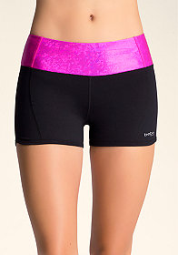 bebe Iridescent Colorblock Shorts