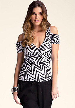 bebe Printed Cold Shoulder Top