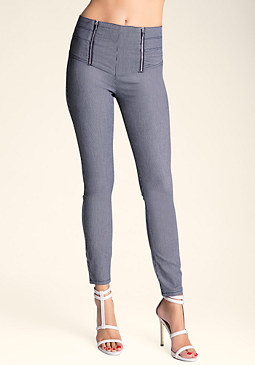 bebe Ticking Sailor Skinny Jeans