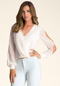 bebe Long Sleeve Wrap Top