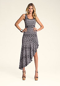 bebe Print Drapey Hem Tank Dress