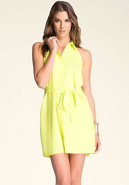 bebe Button Down Shirt Dress