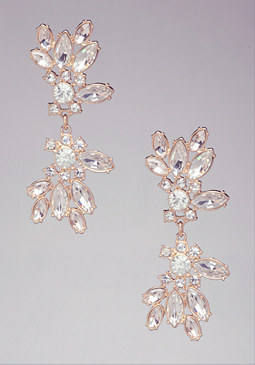 CRYSTAL CLUSTER EARRINGS at bebe