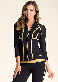 bebe Striped Iridescent Jacket
