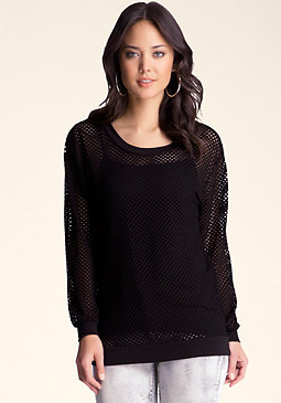 bebe Allover Net Mesh Top