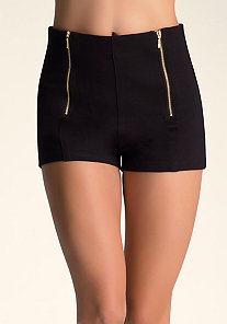 HIGH WAIST ZIP FRONT SHORTS at bebe