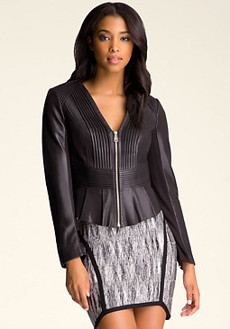 bebe Leather Peplum Jacket