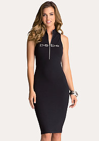 bebe Sleeveless Mock Neck Dress