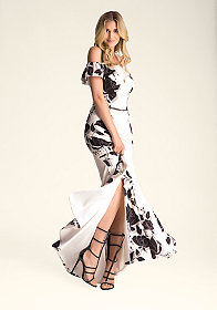 DEEP V-NECK HALTER DRESS at bebe