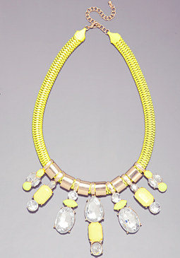 bebe Crystal Drop Neon Necklace