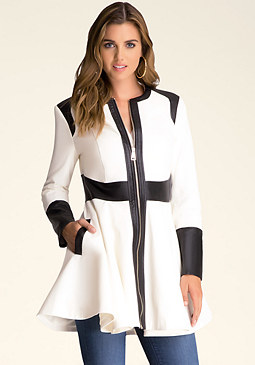 bebe Colorblock Trench Coat
