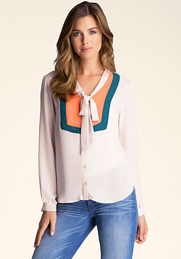 bebe Color Block Tie- Neck Blouse